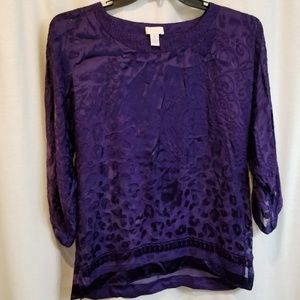 Chico's royal purple flocked sheer blouse